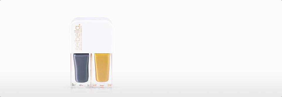 水贝娜水性指甲油-雾霾蓝和银杏黄